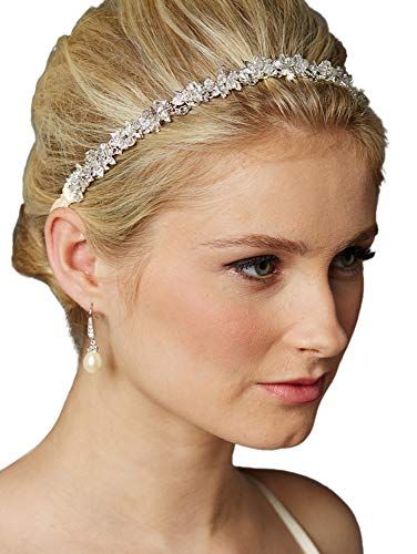 - Mariell Crystal Cluster Bridal Wedding Headband Hair Vine with Ivory Ribbons