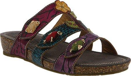 L'Artiste by Spring Step Women's Aghna Slide,Purple Multi Leather,EU 37 M