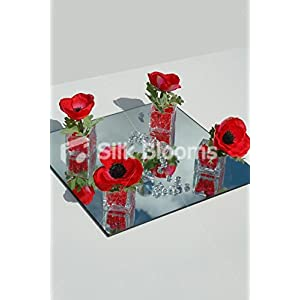 4 Cubic Vase Guest Centrepiece in Luxury Red Anemone Poppies 76