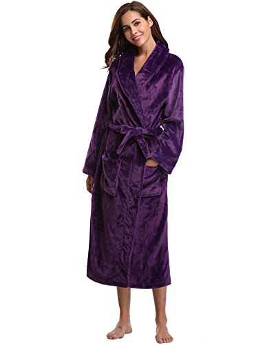 Aibrou Women's Plush Soft Warm Coral Fleece Bathrobe Robes