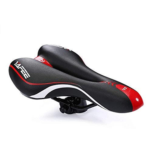 Foir Bike Saddle Mountain Bike Seat Breathable Comfortable Bicycle Seat with Central Relief Zone and Ergonomics Design Fit for Road Bike and Mountain Bike (red and Black)