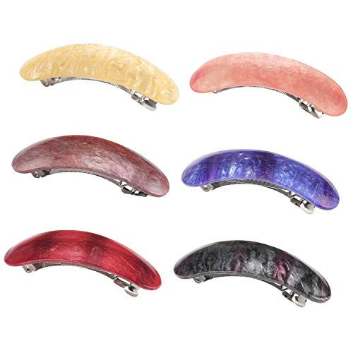 Hair Barrettes for Women Ladies, Funtopia 6 Pack 3.1 Inches Simple Retro Automatic Hair Clip for Fine Hair and Medium Thick Hair, Classic Hair Holders Barrettes for Daily Wearing