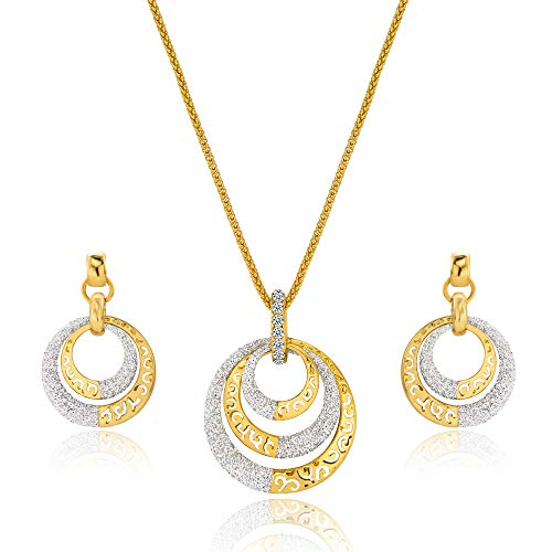 - Viennois Necklace and Earrings Jewelry Sets for Wedding Dress, Bridesmaids, Brides, Party or Prom (Gold with Round Shape)