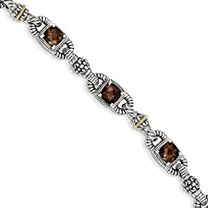 Sterling SIlver 5.14ct 14k Yellow Gold-Plated Smoky Quartz 7.25in Vintage Style Bracelet