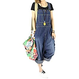 Women's Fashion Casual Loose Denim Bib Overalls