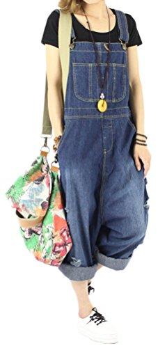 Soojun Women's Fashion Casual Loose Denim Bib Overalls Plus Size Blue