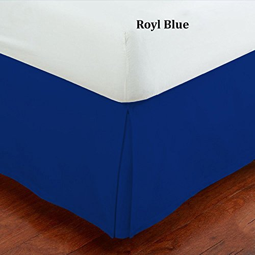 Mk Collection 100% Finest Quality Long Staple Brushed Microfiber Comfortable Quadruple Pleated Bed-skirt Solid New (Full, Royal Blue) (Blue Bed Skirts)
