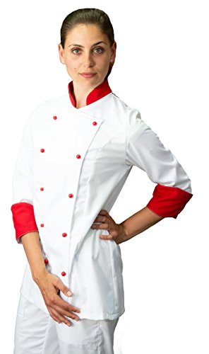 Giacca Pantalone e davantino Completo Cuoco tessile astorino Ricamo Gratuito Nero e Arancione Uniforme Uomo Made in Italy Divisa Chef