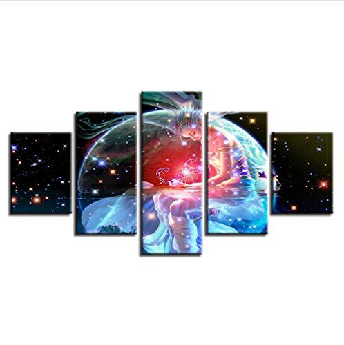 (Alasijia Framework Artworks Print Decor Bedroom Wall Painting 5 Pieces Scorpio Zodiac Astrological Sign Art Canvas Picture Modular Poster-40CMx60/80/100CM)