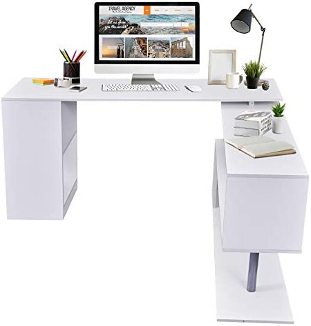 HOMCOM Modern L Shaped Rotating Computer Desk