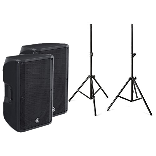 - Yamaha CBR-15 15 Inch Professional Outstanding Performance 2 Way Passive Bass Reflex Powered Speaker in Black (Pair) with a pair of Speaker Stands