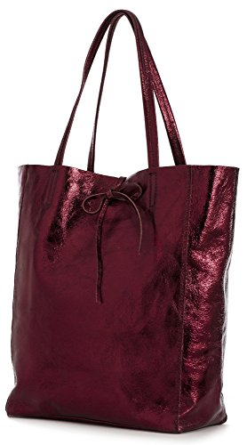 lian Soft Leather Leightweight Large Hobo Shopper Shoulder bag with Protective Dust Bag - Astrid Metallic - Maroon (Italian Leather Large Hobo)