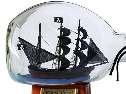 Hampton Nautical Black Pearl Pirate Ship in a Glass Bottle 7'' - Pirate Model - Boat Model