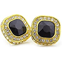 HongBoom Hot Hip Hop 14K Gold Plated CZ Fully Iced-Out Blue Square Ruby Stud Earrings