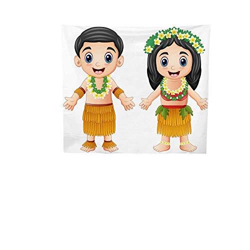 Sunset glow Simple Tapestry Cartoon.jpg Hawaiian.jpg Couple.jpg Wearing.jpg Traditional.jpg Costumes.jpg Big Tapestry 55W x 55L Inch -