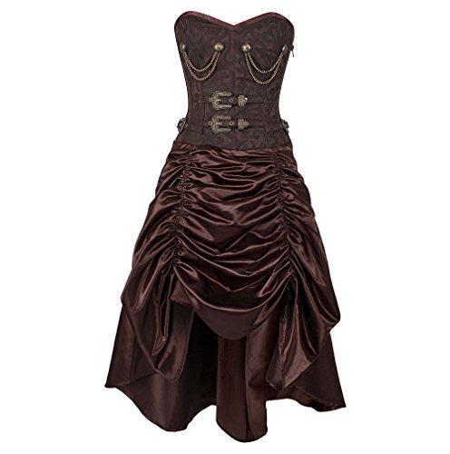 [Steampunk Coffee Brocade Spiral Boned Overbust Corset Dress-XL] (Steampunk Corset Dress)