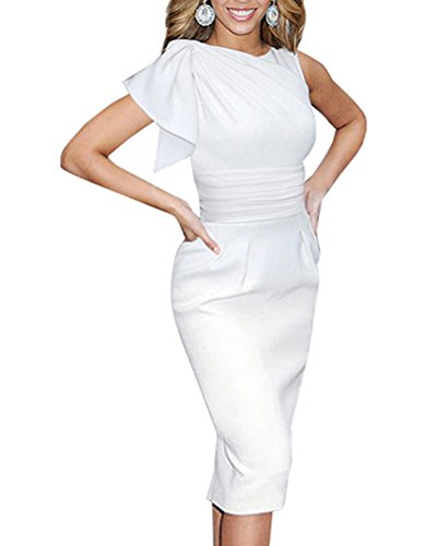 Merope J Womens Elegant Vintage Wedding Sleeveless White Dress(XXL, White) (Celeb Halloween Costumes 2017)