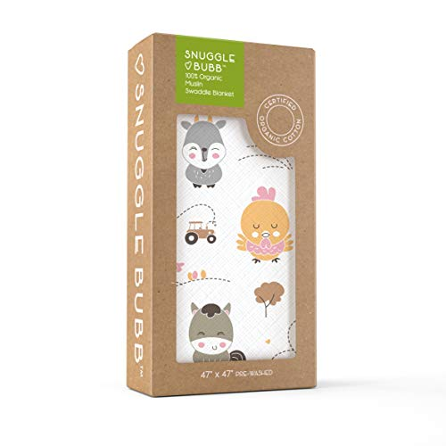 Organic Muslin Swaddle Blanket from Snuggle Bubb - Premium Natural Cotton - Size XL - Luxuriously Soft - Prewashed - Unisex for Newborn Baby Boy or Girl - Farm Friends (Farm Receiving Blankets)