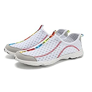 welltree Women's and Men's Quick Drying Breathable Mesh Lightweight Slip On Aqua Water Shoes White 6.5 B(M) US/36