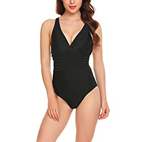 - 41RyRSxFczL - Elaver Sexy Tankini Swimsuit Plus Size One Piece Swimwear For Women