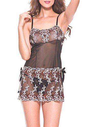 Yall Las Mujeres 'S Pijama Horquillas Vestidos De Gasa Black