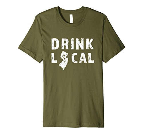 Mens Drink Local New Jersey Beer Premium Distressed T-Shirt Large Olive