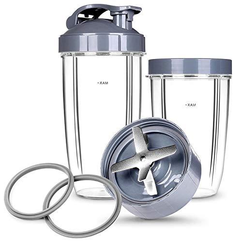 Cups & Blade Replacement Set for NutriBullet Blenders | 7-Piece Replacement Set | 24 & 32 oz Cups, Blade, 2 Lids, 2 Extra Seals (Best Price Nutribullet 600)