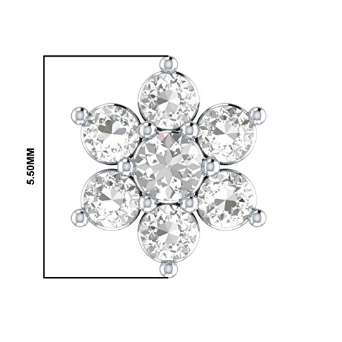 Natural Diamond 14k Gold Flower Nose Lip Labret Monroe Ring Stud Screw (6 mm long post) by Demira Jewels (Image #2)