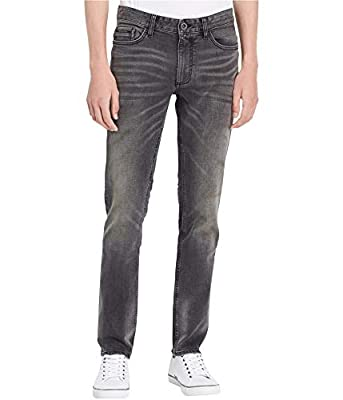 Calvin Klein Jeans Mens Slim Straight Jeans in Lead Black