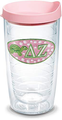 Tervis 1076411 Sorority - Delta Zeta Tumbler with Emblem and Pink Lid 16oz, Clear