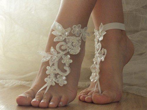 ASA Bridal Summer Crochet Barefoot Sandal Lace Anklets Wedding Prom Party Bangle-Ivory