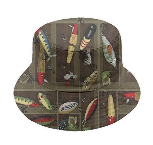 YongColer Vintage Fishing Lure Style Unisex Casual Bucket Cap Wide Brim Fisherman Hat
