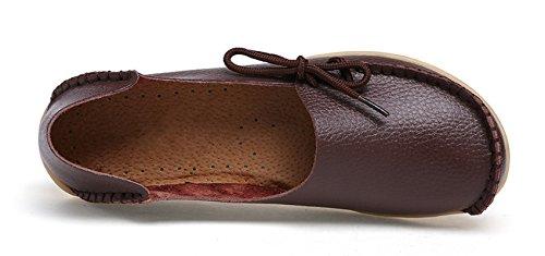 VenusCelia Damen Comfort Walking Büro Flacher Loafer Braun