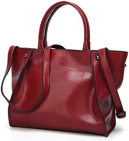 ハンドバッグ - 女性のファッションジッパーバックパック、大容量リベットクラシックトートバッグ、ソフトで光沢のあるPU素材、ブラック/レッド、29 * 12 * 40CM よくできた (Color : Red)