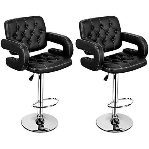 COSTWAY PU Leather Swivel Adjustable Bar Stools with Armrest Hydraulic Pub Chair, Set of 2 (Black)