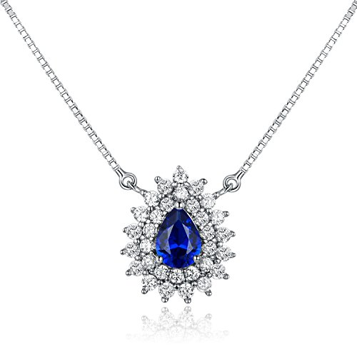 GEMSME White Gold Plated Created Blue Sapphire and Cubic Zirconia Teardrop Pendant Necklace by GEMSME