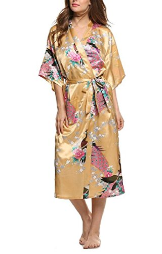 SexyTown Women's Long Floral Peacock Kimono Robe Satin Nightwear with Pockets X-Small Yellow
