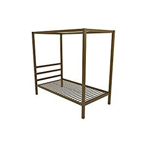 Clean Straight Lines Modern Style Delux Look Canopy Metal Bed, Sturdy Metal Frame Construction, Center and Side Rails for Stability and Durability, Multiple Colors, Multiple Sizes + Expert Guide