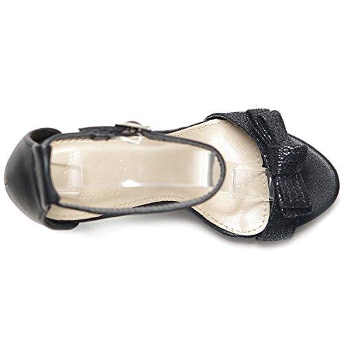 Strap High Shoe Ollio Dress Ankle Heel D'orsay Black Sandal Ribbon Women's RwgSgYq