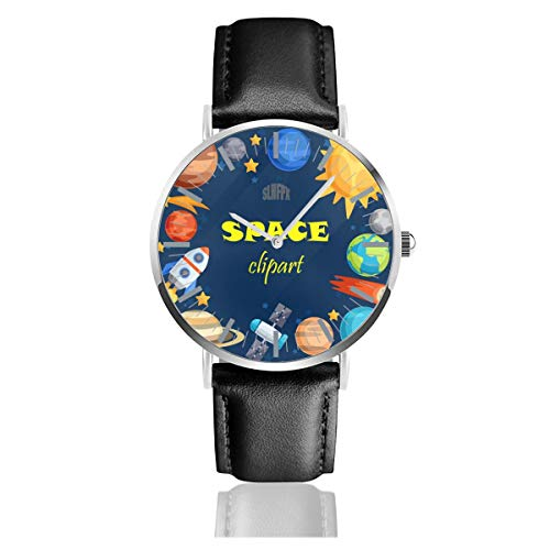 - Planets Solar System Mens Watches Chronograph Sports Watch Water Resistance Quartz Black Clock Business Wristwatch with Leather Strap Watch for Women Girls Boys 38mm/1.5