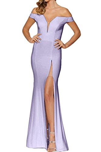 der Chiffon Lavendel Hochwertig Festkleid von Schlitz Damen Abendkleid Ab Schulter Partykleid Ivydressing Promkleid wI70q5v