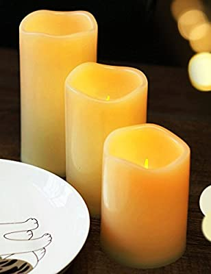 BRIGHT ZEAL Set of 3 Ivory LED Flickering Flameless Candles Light with Timer & Remote (Battery Operated) - Flameless Pillar Candles - LED Candle Lights - Artificial Candles Light with Realistic Flame
