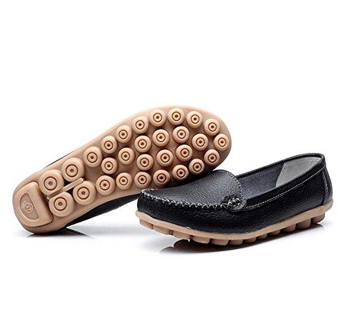 Zapatos CN38 US7 Cuero Suave SHANGXIAN Del Black Plano Fondo EU38 5 Zapatos Casual UK5 Mujeres Barco White 5 PaPwp0gq