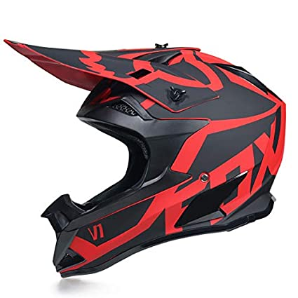 Letter Graffiti Mountain Racing Downhill Herren Und Damen Four Seasons Universal Integralhelm Motocross-Helm Herrengeschenke Mit Schutzbrillenhandschuhen Schwarz Rot Wei/ß Rot