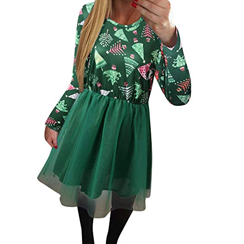 PASATO Women Xmas Christmas Printing Mesh Dress Long Sleeve Evening Party Dress 2018 New beautiful Skirt Clearance Sale(green,S=US:XS) -