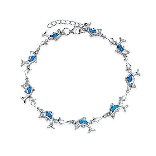 Synthetic Blue Opal Inlay Nautical Dolphin Link Bracelet Sterling (Synthetic Blue Opal Inlay)