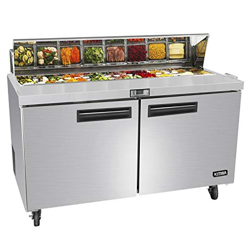 60 Inches 2 Door Mega Top Sandwich Prep Table Refrigerator - KITMA 18.6 Cu.Ft Refrigerated Salad Prep Station Table with Cutting Board and 24 Pans, 33 °F - 38°F (Unit Prep Sandwich Top)
