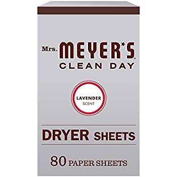 Mrs. Meyers Clean Day Dryer Sheets, Lavender Scent (Pack of 80)
