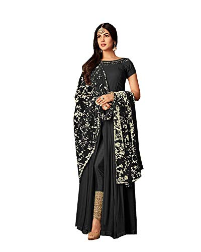 - stylishfashion Bollywood Designer Pakistani/Indian Wedding Partywear Salwar Kameez Indian Dress Ready to Wear Salwar Suit (Black, XS-36)
