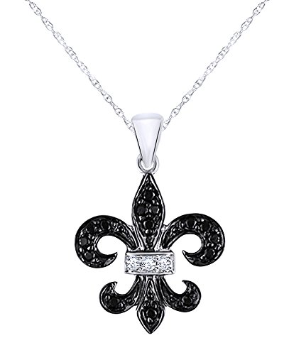 Round Cut Black and White Diamond Fleur-de-Lis Pendant in 10K Solid White Gold (1/8 CT)